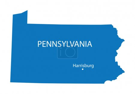 Blue map of Pennsylvania with indication of Harrisburg