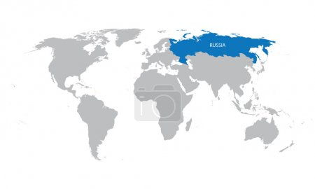 world map with indication of Russia