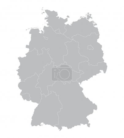 grey vector map of Germany (all federal states on separate layer