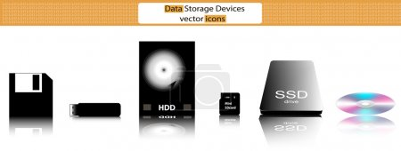 Data storage devices vector illustration