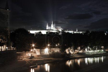 Prague castle in a night view