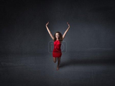 allergic girl in red dress