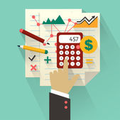 Flat design. Business concept with hand. Accounting infographic.