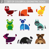 Set of geometric colorful dogs