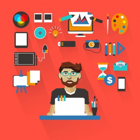 Profession of people. Flat infographic. Graphic designer