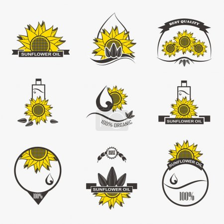 Set of sunflower oil emblems, labels, logos