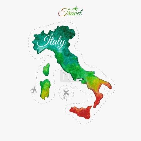 Voyage autour du monde. Italie. Plan aquarellé