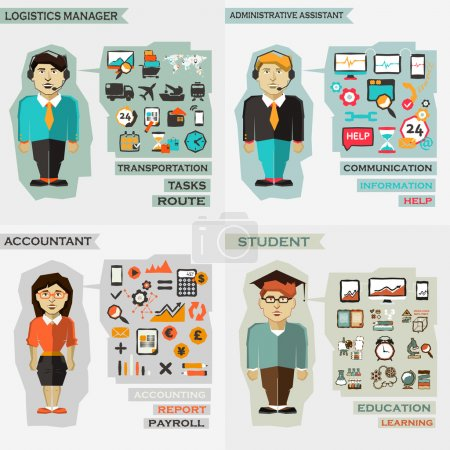 Set of professions. Logistics manager, administrative assistance