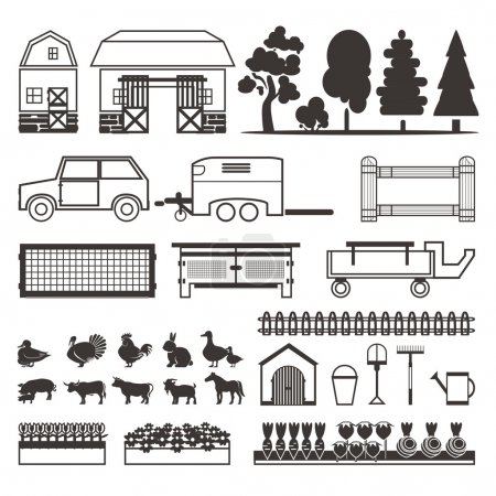 Set of elements for farm. Farm building, animals, plants, vegeta