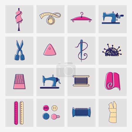 Illustration pour Coudre et tailler des icônes et des éléments colorés - image libre de droit