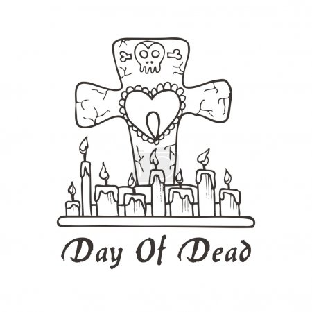 Illustration for Grave candles with heart and skull in black and white - Royalty Free Image