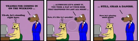 Photo for Business cartoon strip about getting caught sleeping at work. - Royalty Free Image