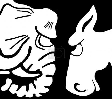 Foto de Caricatura política de un republicano y un demócrata. - Imagen libre de derechos