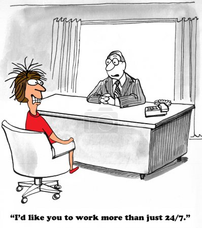 Photo pour Caricature d'entreprise sur un patron très exigeant voulant que l'employé travaille plus de 24 / 7 . - image libre de droit