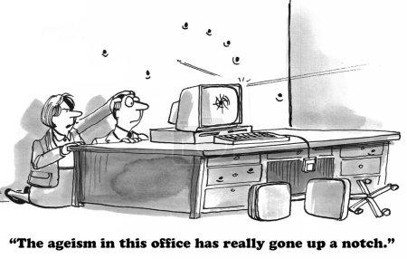 Photo pour Caricature d'entreprise sur l'âgisme . - image libre de droit