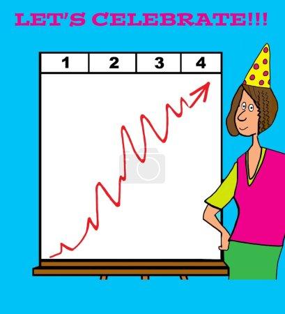 Photo pour Caricature d'entreprise sur la célébration du succès . - image libre de droit