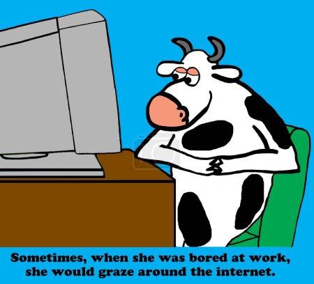 Photo pour Caricature d'entreprise sur la navigation sur Internet plutôt que de travailler . - image libre de droit