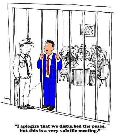Photo pour Caricature d'entreprise sur une réunion volatile . - image libre de droit