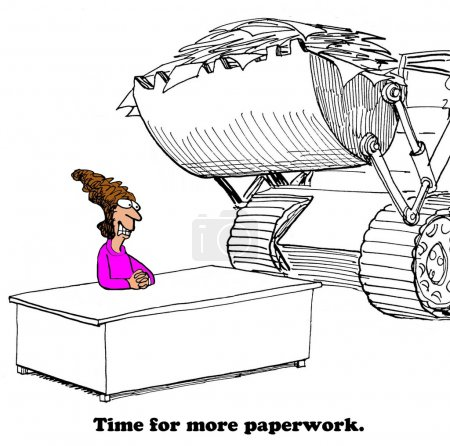 Business cartoon about too much paperwork