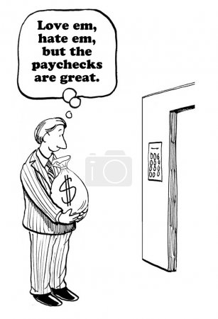 Business cartoon of a businessman holding a large ...