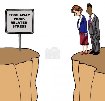 Photo for Business cartoon showing two business people looking down from a cliff and a sign that reads, 'toss away work related stress'. - Royalty Free Image