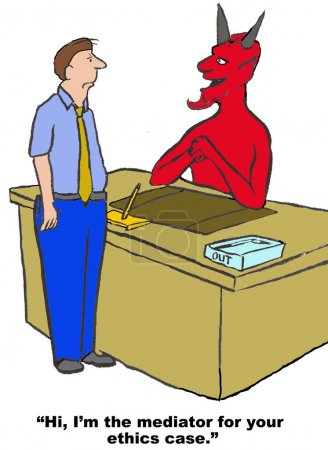 """Photo for Business cartoon of devil saying to businessman, """"Hi, I'm the mediator for your ethics case'. - Royalty Free Image"""