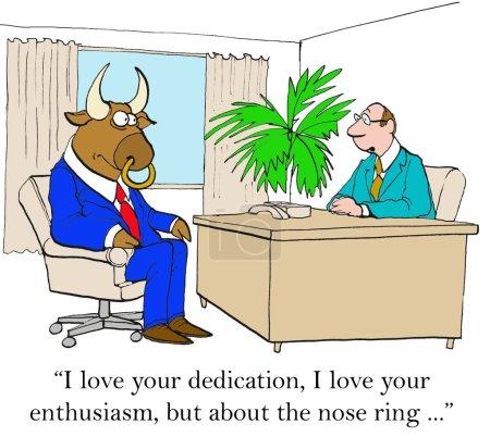 """Photo pour Caricature d'entreprise du patron disant au taureau d'affaires : """"J'aime votre dévouement, j'aime votre enthousiasme, mais à propos de l'anneau de nez..."""" - image libre de droit"""
