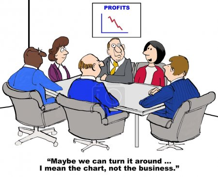 Photo pour Business cartoon of meeting and chart with declining sales, 'maybe we can turn it around... I mean the chart, not the business'. - image libre de droit