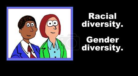 Photo pour Business illustration of two diverse people and the words 'Racial diversity.  Gender diversity'. - image libre de droit