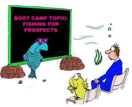 Foto de Business cartoon showing a fish teaching a course on 'Fishing for prospects'. - Imagen libre de derechos