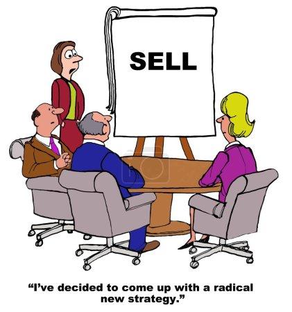 """Photo pour Caricature d'affaires montrant les gens dans une réunion et les mots """"VENDRE"""" sur un tableau. Leader dit : """"J'ai mis au point une nouvelle stratégie radicale"""" . - image libre de droit"""
