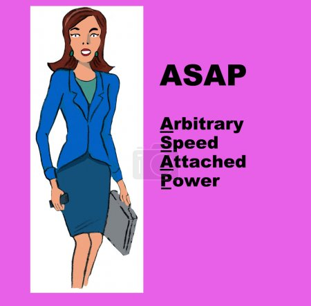 Businesswoman and the acronym 'ASAP'