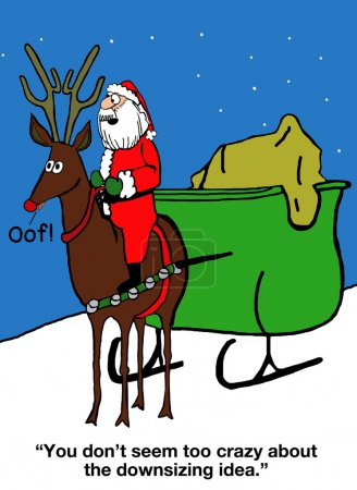 one reindeer is pulling the sleigh