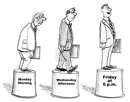 Businessman is More Excited Friday Afternoon Than Monday Morning.