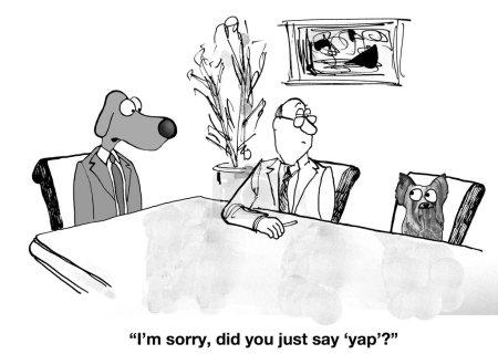Business Dog responde 'Yap' en lugar de 'Sí'