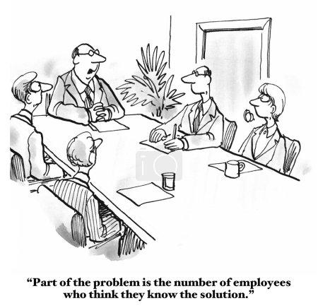 Photo pour Caricature d'affaires d'une réunion où le leader craint que tous les employés pensent qu'ils savent la réponse à la question. - image libre de droit
