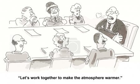 "Illustration for ""Let's work together to make the atmosphere warmer."" - Royalty Free Image"