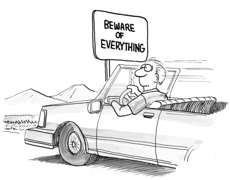 Illustration for Beware of everything sign on the highway - Royalty Free Image