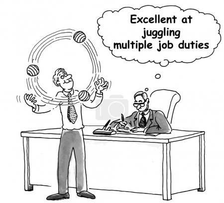 Illustration pour Excellent pour jongler avec plusieurs tâches professionnelles - image libre de droit