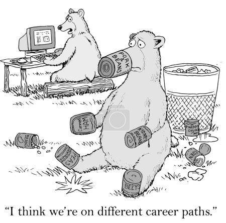 Illustration pour Les ours sont sur des chemins de carrière différents - image libre de droit
