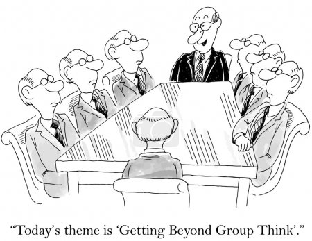 Illustration for Today's theme is getting beyond group think - Royalty Free Image