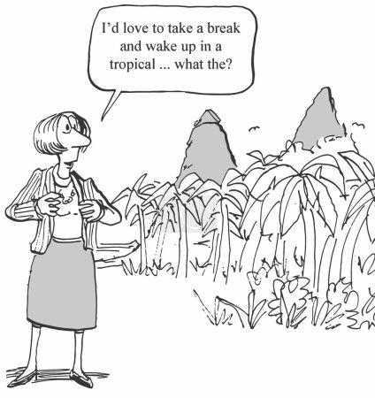 Woman executive takes a vacation