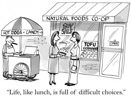 Illustration for Lunch is a difficult choice - Royalty Free Image