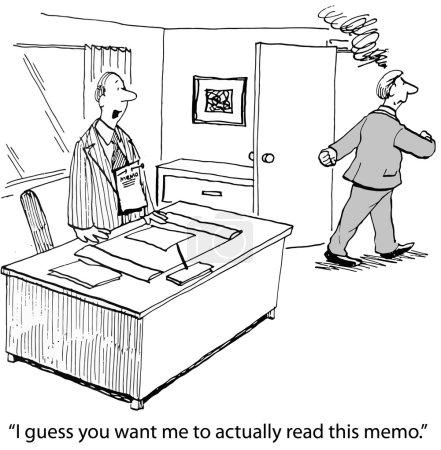 """Illustration pour Caricature du patron fumant qui épingle le mémo sur la chemise de son associé, """"Je suppose que vous voulez que je lise ce mémo"""" . - image libre de droit"""
