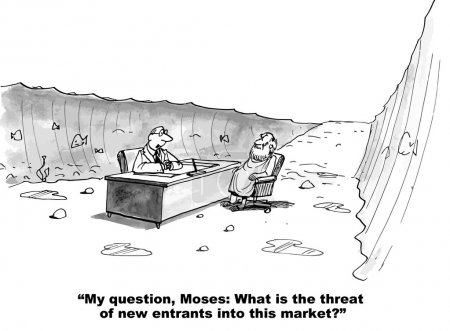 Illustration for The business boss is asking Moses about the possible threat of new entrants into the market. - Royalty Free Image