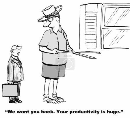Illustration pour L'entreprise veut que l'homme d'affaires géant revienne et travaille puisque sa production et sa productivité sont tellement plus grandes que celles de tout le monde. . - image libre de droit