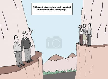 Illustration for When departments do not communicate it creates a divide in the company. - Royalty Free Image