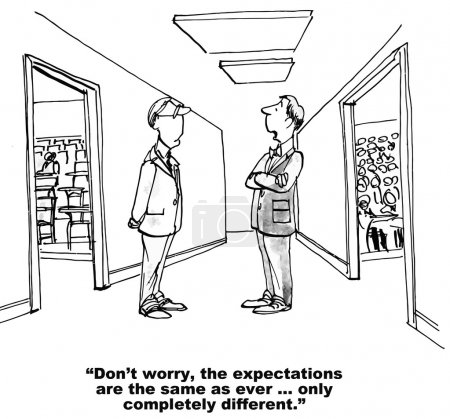 Illustration for Cartoon of two teacher talking and one saying, 'don't worry the expectations are the same as ever... only different'. - Royalty Free Image