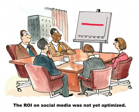 Illustration for Cartoon of a business meeting and a chart with a straight red line, the ROI on social media was not yet optimized. - Royalty Free Image