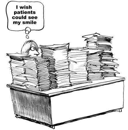 Illustration pour Caricature du médecin assis derrière des piles et des piles de paperasse souhaitant que ses patients puissent voir leur sourire . - image libre de droit